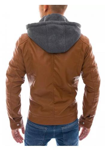 Khaki kožená bunda s teplákovou kapucí pro pány
