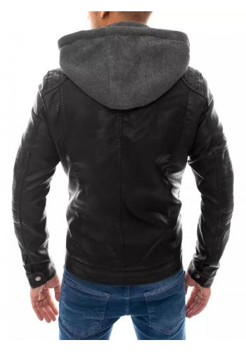 Kožená pánská bunda černé barvy s teplákovou kapucí