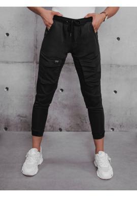 Černé sportovní kalhoty s gumou v pase pro dámy