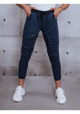Sportovní dámské kalhoty tmavě modré barvy s gumou v pase