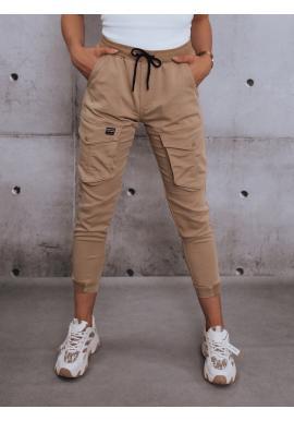 Dámské sportovní kalhoty s gumou v pase v béžové barvě