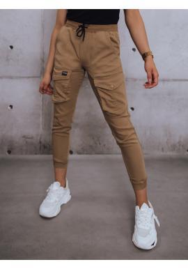 Hnědé sportovní kalhoty s gumou v pase pro dámy