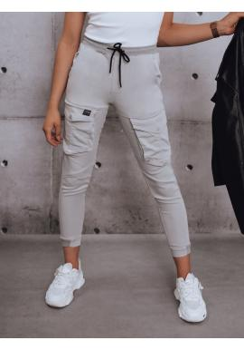 Sportovní dámské kalhoty světle šedé barvy s gumou v pase