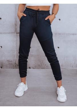 Tmavě modré stylové kalhoty s gumou v pase pro dámy