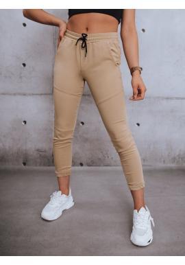 Stylové dámské kalhoty béžové barvy s gumou v pase