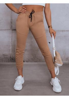 Dámské stylové kalhoty s gumou v pase v hnědé barvě