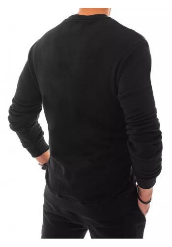 Černá tepláková mikina bez kapuce pro pány