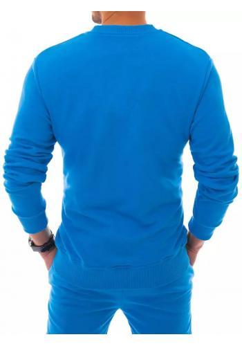 Tepláková pánská mikina modré barvy bez kapuce
