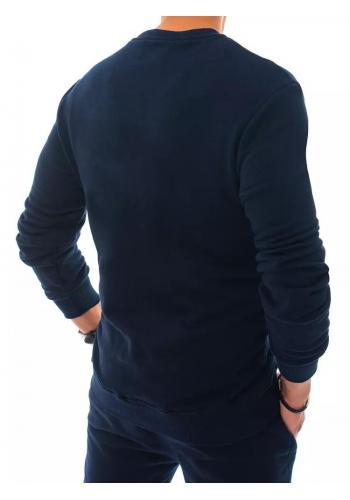 Tepláková pánská mikina tmavě modré barvy bez kapuce