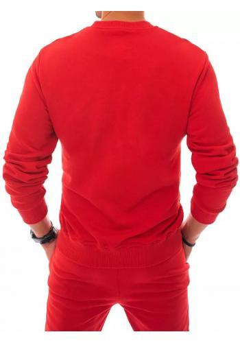 Červená tepláková mikina bez kapuce pro pány