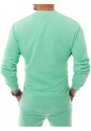 Tepláková pánská mikina světle zelené barvy bez kapuce