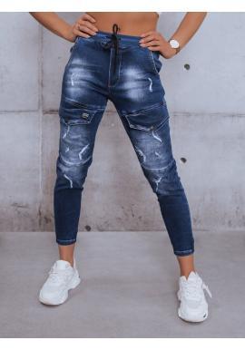 Tmavě modré riflové kalhoty s gumou v pase pro dámy