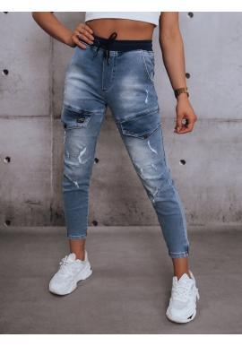 Riflové dámské kalhoty světle modré barvy s gumou v pase
