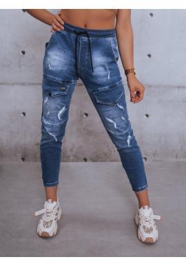 Dámské riflové kalhoty s gumou v pase v modré barvě