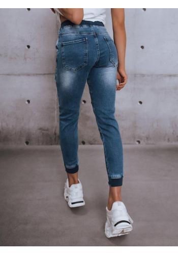 Modré riflové kalhoty s gumou v pase pro dámy