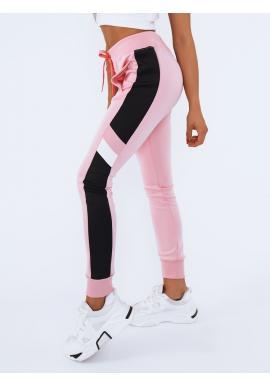 Dámské módní tepláky s kontrastními prvky v růžové barvě
