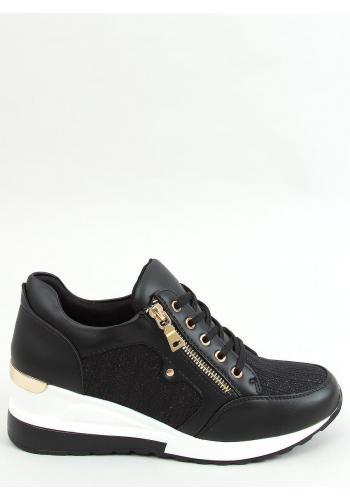 Černé módní Sneakersy s klínovým podpatkem pro dámy