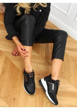 Dámské stylové Sneakersy s klínovým podpatkem v černé barvě