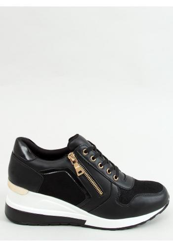 Sportovní dámské Sneakersy černé barvy s klínovým podpatkem