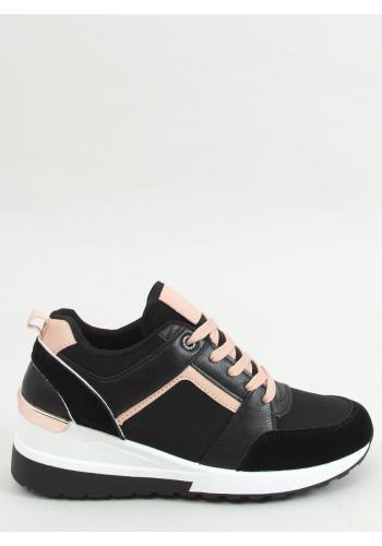 Dámské módní tenisky na klínovém podpatku v černé barvě
