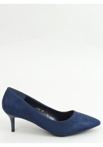 Dámské semišové lodičky na nízkém podpatku v tmavě modré barvě