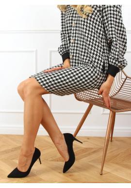 Černé semišové lodičky na štíhlém podpatku pro dámy
