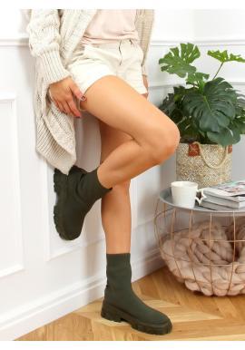 Zelené ponožkové kozačky na širokém podpatku pro dámy