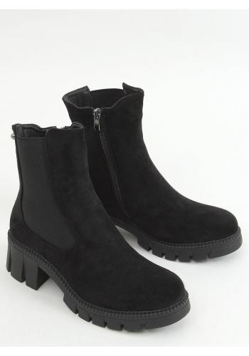 Černé semišové boty s vysokým svrškem pro dámy