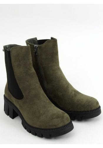 Dámské semišové boty s vysokým svrškem v zelené barvě