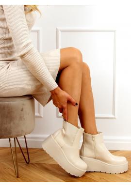 Béžové kotníkové boty s masivní podrážkou pro dámy