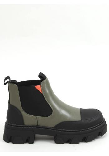 Kotníkové dámské boty zelené barvy s vysokou podrážkou