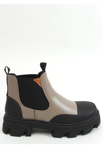 Khaki kotníkové boty s vysokou podrážkou pro dámy