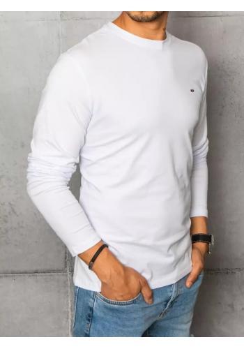 Pánské hladké trička s dlouhým rukávem v bílé barvě
