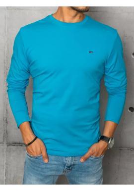 Tyrkysové hladké triko s dlouhým rukávem pro pány
