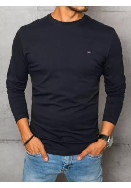 Hladké pánské tričko tmavě modré barvy s dlouhým rukávem