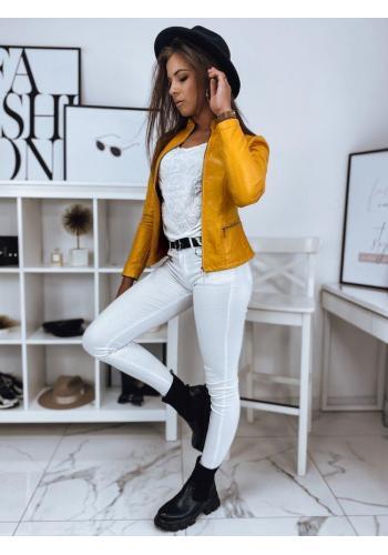 Dámská kožená bunda s prošíváním ve žluté barvě