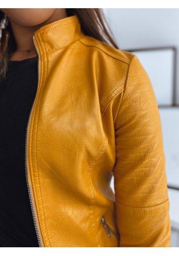 Kožená dámská bunda žluté barvy s prošíváním