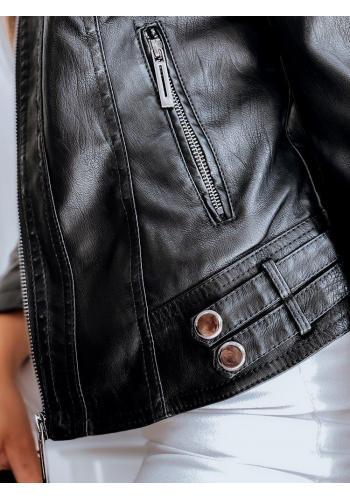 Černá kožená bunda s límcem pro dámy