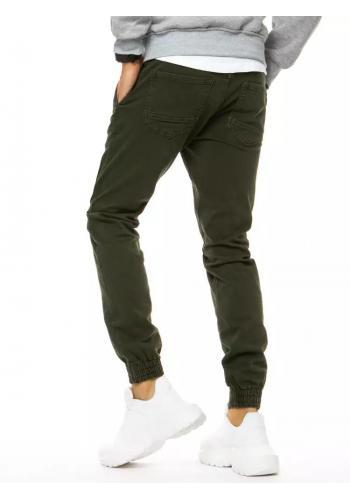 Pánské riflové Joggery s gumou v pase v khaki barvě