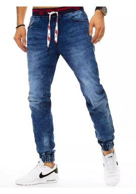 Pánské riflové kalhoty s gumou v pase v modré barvě