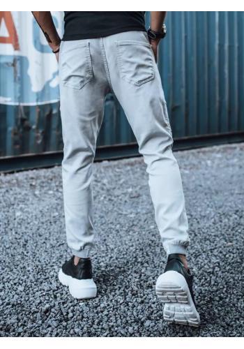 Stylové pánské Joggery světle šedé barvy s cargo kapsami