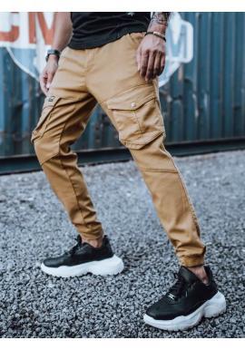 Pánské stylové Joggery s cargo kapsami v hnědé barvě
