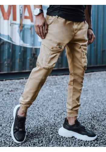 Pánské stylové Joggery s cargo kapsami v béžové barvě