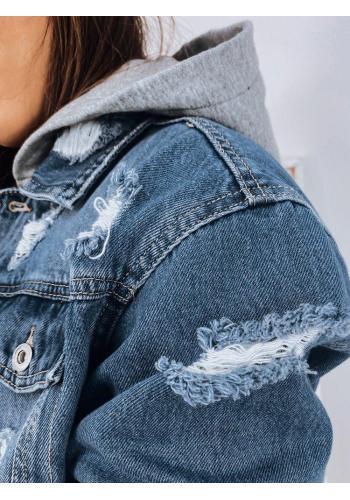 Riflová dámská bunda světle modré barvy s teplákovou kapucí