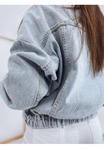 Riflová oversize dámská bunda světle modré barvy