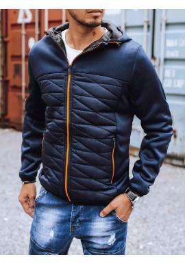 Tmavě modrá podzimní bunda s kapucí pro pány