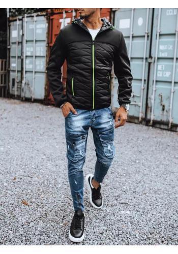 Podzimní pánská bunda černé barvy s kapucí