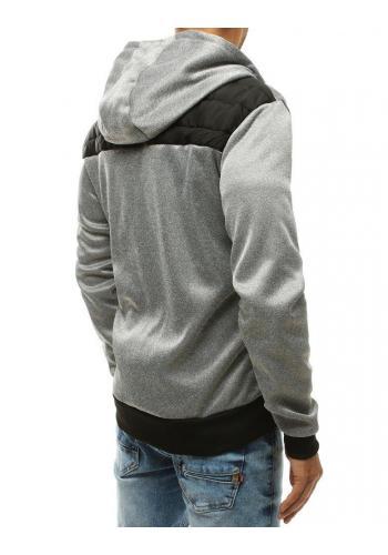 Prošívaná pánská bunda světle šedé barvy s kapucí