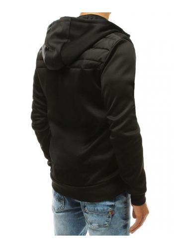 Pánské prošívané bundy s kapucí v černé barvě