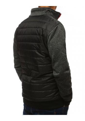 Pánská prošívaná bunda s límcem v černé barvě